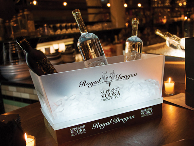 Royal Dragon Luxury Vodka collection on ice